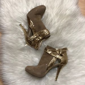 Guess Gold Suede Glitter Booties Ankle Boots